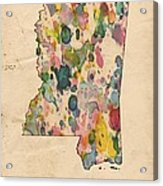 Mississippi Map Vintage Watercolor Acrylic Print