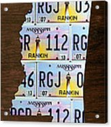 Mississippi State License Plate Map Art Acrylic Print