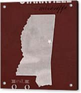 Mississippi State University Bulldogs Starkville College Town State Map Poster Series No 068 Acrylic Print