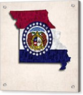 Missouri Map Art With Flag Design Acrylic Print