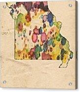 Missouri Map Vintage Watercolor Acrylic Print