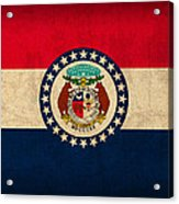 Missouri State Flag Art On Worn Canvas Acrylic Print