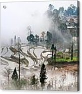 Mist And Village Acrylic Print