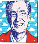 Mister Rogers Pop Art Acrylic Print by Jim Zahniser
