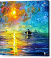 Misty Calm - Palette Knife Oil Painting On Canvas By Leonid Afremov Acrylic Print