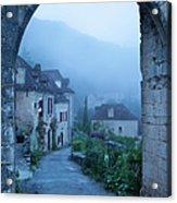 Misty Dawn In Saint Cirq Lapopie Acrylic Print by Brian Jannsen