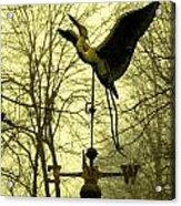 Misty Egret - Gold Acrylic Print