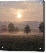 Misty Farm At Sunrise Acrylic Print
