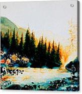 Misty Fishing Morning Acrylic Print