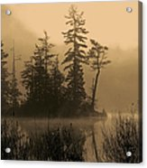 Misty Lake And Trees Silhouette Acrylic Print
