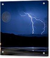 Misty Lake Full Moon Lightning Storm Fine Art Photo Acrylic Print
