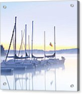 Misty Morning Sailboats Acrylic Print