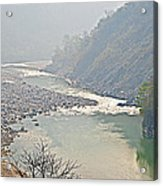 Misty Seti River Rapids In Nepal  Acrylic Print