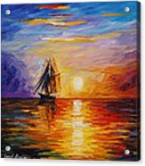 Misty Ship - Palette Knife Oil Painting On Canvas By Leonid Afremov Acrylic Print