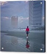 Misty Walk On Daytona Morning Acrylic Print