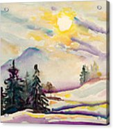 Misty Winter Afternoon In The Alps Acrylic Print