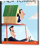Mitt Romney Driving With Rick Santorum In A Dog Acrylic Print by Bob Staake