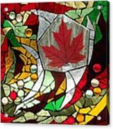 Mosaic  Stained Glass - Canadian Maple Leaf Acrylic Print