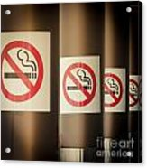 Mobile Photography Toned Row Of No Smoking Signs Acrylic Print