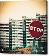 Mobile Photography Toned Stop Sign And Condo Units Acrylic Print