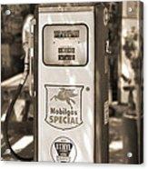 Mobilgas Special - Tokheim Pump  - Sepia Acrylic Print by Mike McGlothlen