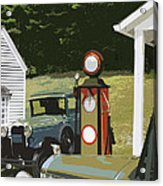 Model A Ford And Old Gas Station Illustration  Acrylic Print