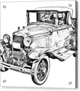 Model A Ford Roadster Antique Car Illustration Acrylic Print