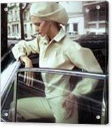 Model Wearing A White Kenzo Ensemble Acrylic Print