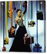 Model Wearing An Evening Gown Among Gifts Acrylic Print