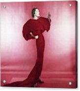 Model Wearing Red Evening Dress Acrylic Print