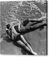 Models Embracing On A Beach Acrylic Print