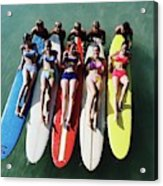 Models Wearing Bikinis Lying On Surfboards Acrylic Print