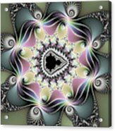 Modern Abstract Fractal Art Metallic Colors Square Format Acrylic Print
