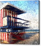 Modern-art Miami Beach Watchtower Acrylic Print by Melanie Viola