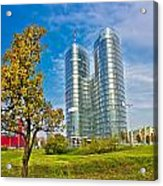 Modern Twin Tower In City Of Zagreb Acrylic Print