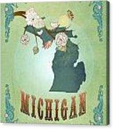Modern Vintage Michigan State Map  Acrylic Print