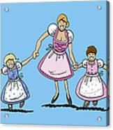 Mom With Daughters Wearing Dirndl Acrylic Print