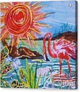 Momma And Baby Flamingo Chillin In A Blue Lagoon  Acrylic Print