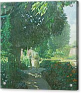 Monets Garden Oil On Board Acrylic Print
