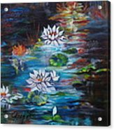 Monet's Pond With Lotus 11 Acrylic Print