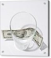 Money And Glass Acrylic Print