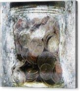 Money Frozen In A Jar Acrylic Print by Skip Nall