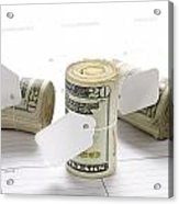Money Rolls On Calendar Acrylic Print by Joe Belanger