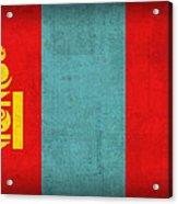 Mongolia Flag Vintage Distressed Finish Acrylic Print