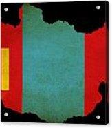 Mongolia Outline Map With Grunge Flag Acrylic Print