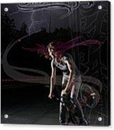Monika Hinz Doing Great Bmx Flatland Action On Her Bike Acrylic Print