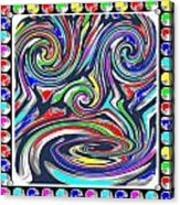 Monkey Dance Created Out Of Beads Of The Border Creative Digital Graphic Work Cartoon Comedy Backgro Acrylic Print