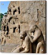 Monkey Sculptures Near The Arjuna's Acrylic Print