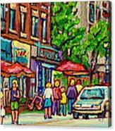 Monkland Tavern Corner Old Orchard Montreal Street Scene Painting Acrylic Print by Carole Spandau