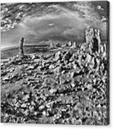 Mono Lake Tufa Rocky Beach Black And White Acrylic Print